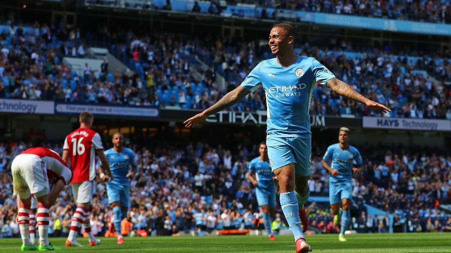 Gabriel Jesus comemora gol marcado pelo Manchester City contra o Arsenal - Chloe Knott - Danehouse/Getty Images