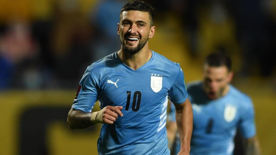 Arrascaeta comemora gol na vitória do Uruguai contra a Bolívia, pelas Eliminatórias da Copa do Mundo de 2022 - REUTERS/Pablo Porciuncula
