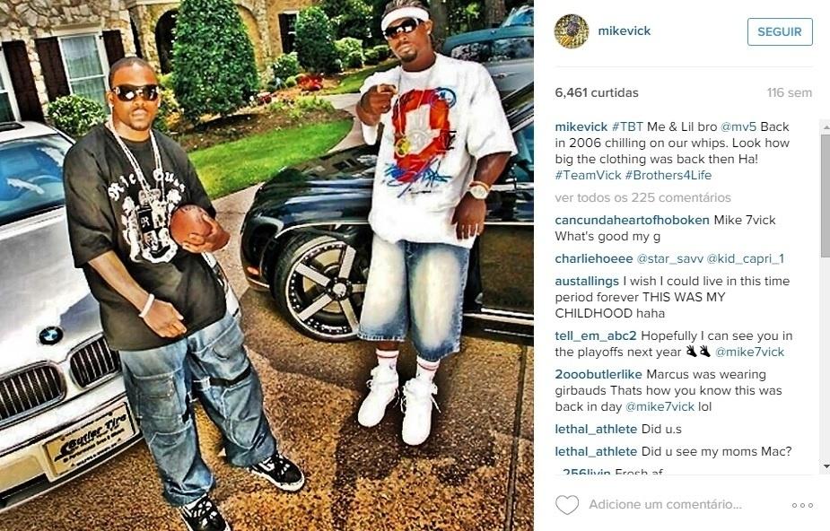 O quarterback do Philadelphia Eagles, Michael Vick (à direita), já postou foto de um BMW