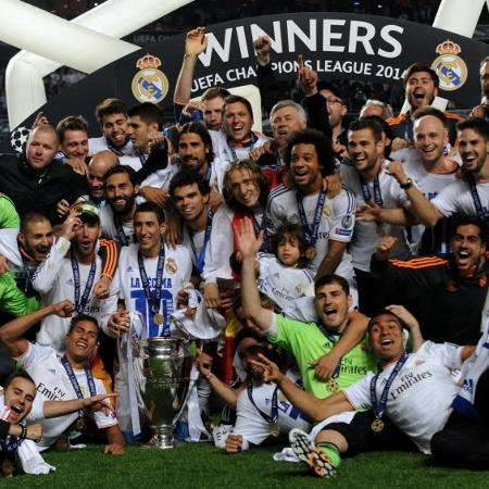 Jogadores do Real Madrid comemoram título da Liga dos Campeões contra o Atlético de Madri em 2014 - Xinhua/Zhang Liyun