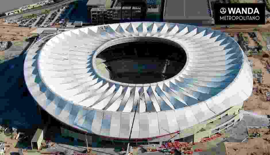 Fase final de construção do estádio Wanda Metropolitano, nova casa do Atlético de Madri - Divulgação