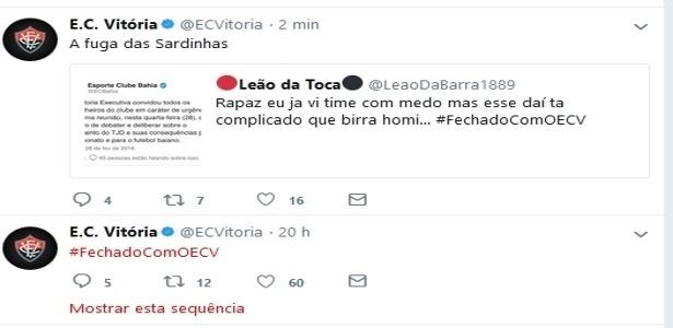 """Vitória provocou Bahia no Twitter: """"a fuga das sardinhas"""""""