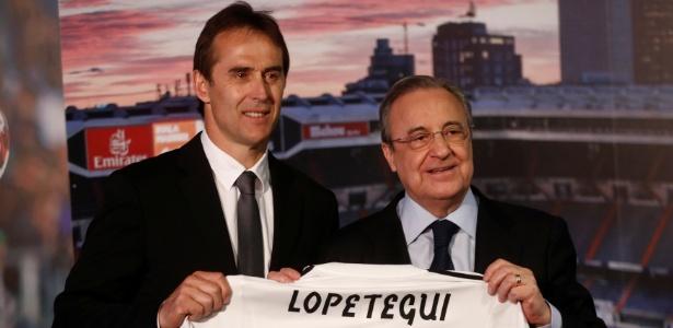 Lopetegui foi apresentado no Real Madrid ao lado do presidente Florentino Perez - Juan Medina/Reuters