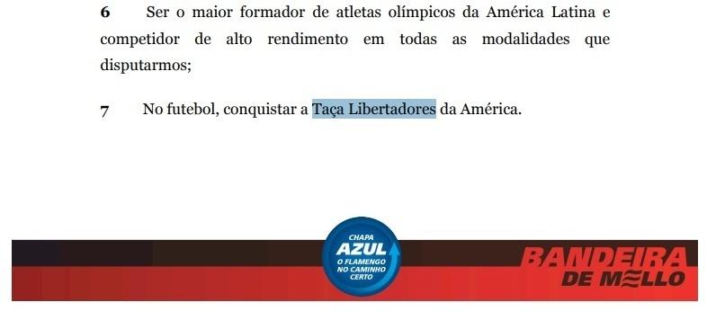 Detalhe do plano de metas do Flamengo para o triênio 2016-2018: clube falhou