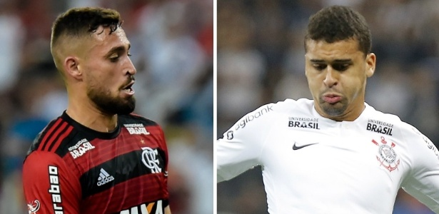 Léo Duarte e Léo Santos são rivais na semifinal da Copa do Brasil  - Montagem sobre fotos de Thiago Ribeiro/AGIF e Daniel Vorley/AGIF