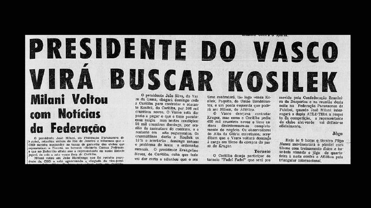 Jornal Diário do Paraná fala sobre o interesse do Vasco em Kosilek e, no meio do texto, que o clube se assustou com valor de Dirceu Krüger - Reprodução