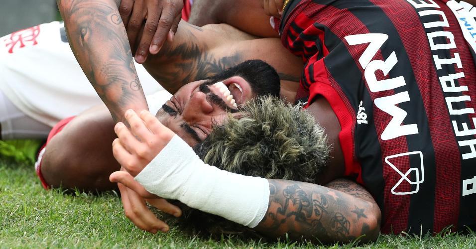 Gabigol comemora gol do Flamengo contra o River Plate