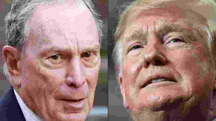 Michael Bloomberg e Donald Trump, candidatos à presidência dos Estados Unidos - KENA BETANCUR/AFP