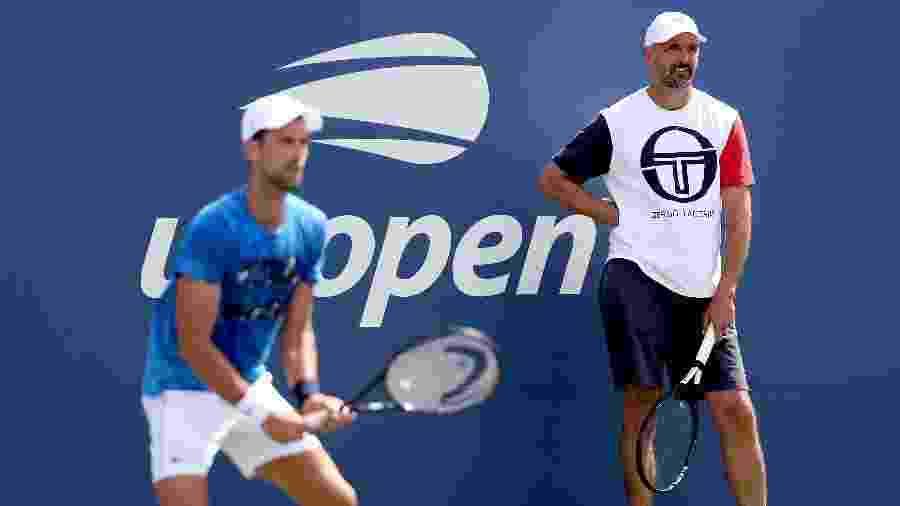 Novak Djokovic e seu técnico Goran Ivanisevic   - Matthew Stockman/Getty Images