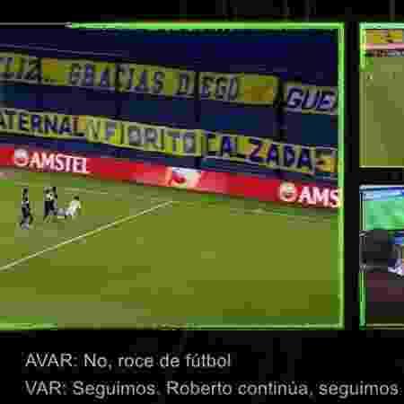 Marinho é derrubado por Izquierdoz nos minutos finais de Boca Juniors x Santos, mas arbitragem não marca pênalti - Reprodução/YouTube