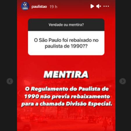 Perfil do Paulistão negou rebaixamento do São Paulo no Estadual de 1990 - Reprodução/Instagram