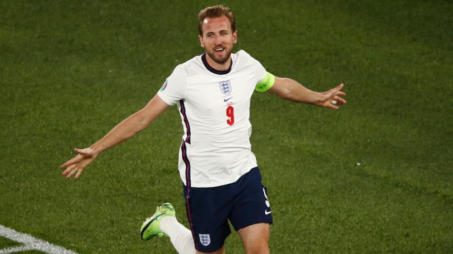 Harry Kane marcou dois gols contra a Ucrânia nas quartas de final da Eurocopa - ALESSANDRO GAROFALO/AFP