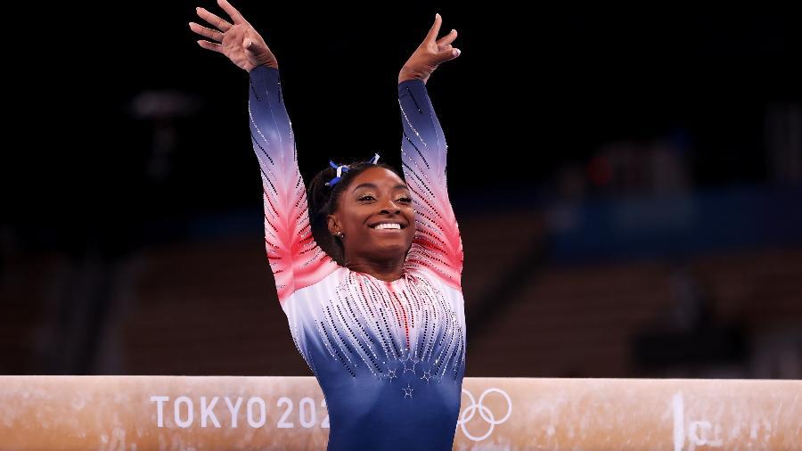 Simone Biles na final da trave das Olimpíadas de Tóquio - Laurence Griffiths/Getty Images
