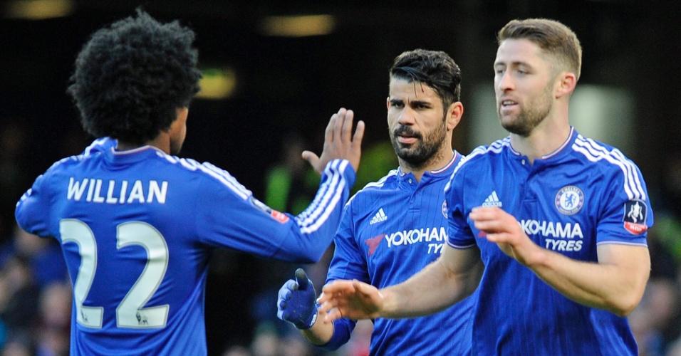 10.jan.2016 - Jogadores do Chelsea comemoram o gol marcado por Diego Costa contra o Scunthorpe pela Copa da Inglaterra