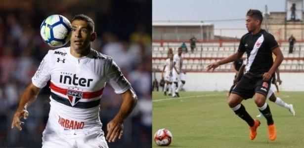 Troca-troca? São Paulo pode trocar Diego Souza por Evander com o Vasco - Marcello Zambrana/AGIF e Paulo Fernandes/Vasco.com.br
