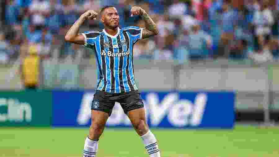 Jael comemora gol marcado pelo Grêmio diante do Juventude, no Gauchão - Lucas Uebel/Grêmio