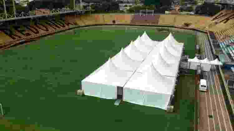 Estádio Raulino de Oliveira, em Volta Redonda, recebeu hospital de campanha -  Divulgação / Prefeitura de Volta Redonda -  Divulgação / Prefeitura de Volta Redonda