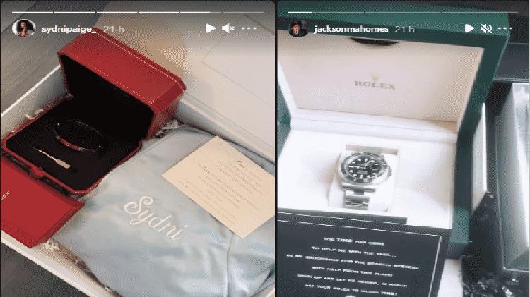 Patrick Mahomes presenteia padrinhos e madrinhas com Rolex e pulseira Cartier - Reprodução/Instagram - Reprodução/Instagram