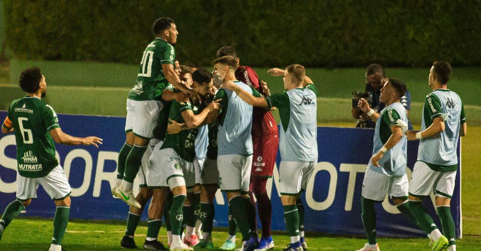 Jogadores do Guarani comemoram gol de Andrigo contra o Botafogo, pela 19ª rodada da Série B
