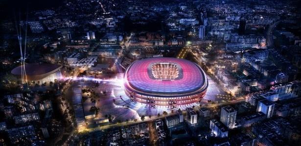 Imagem do projeto do novo estádio do Barcelona
