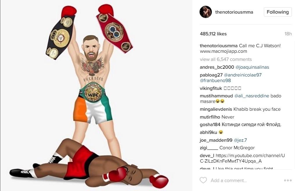 McGregor postou a imagem seu Instagram provocando Mayweather