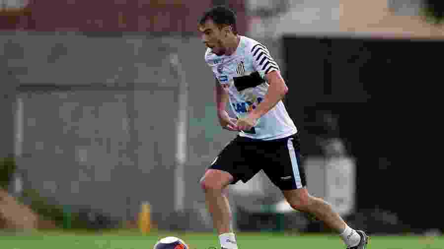 Leandro Donizete carrega a bola durante treino do Santos; volante ficará livre no Mercado da Bola - Ivan Storti/ Santos FC