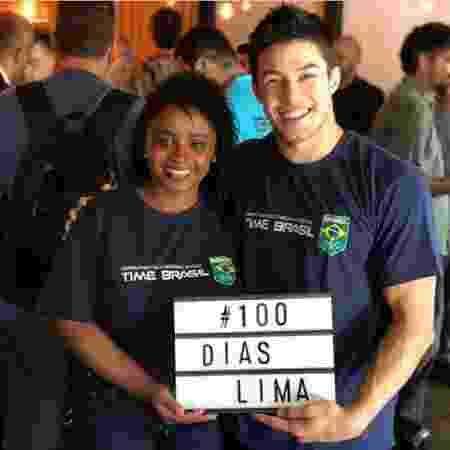 Daiane dos Santos e Arthur Nory em evento que marcou 100 dias para o Pan-Americano de Lima - Reprodução/Instagram