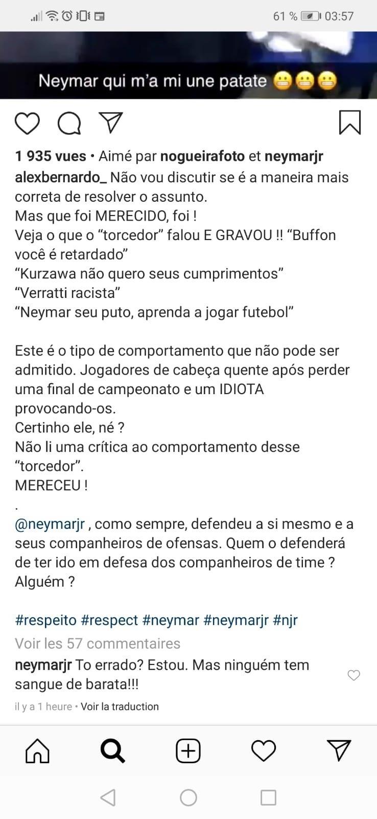 Neymar se defende após agressão a torcedor