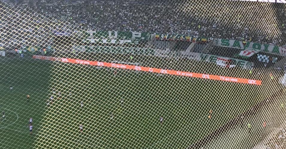 Visão da torcida visitante no Allianz Parque durante jogo entre Palmeiras e Bahia