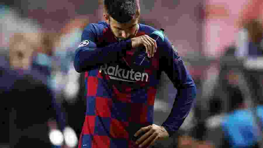 Gerard Piqué na derrota histórica do Barcelona para o Bayern de Munique  por 8 a 2 na Liga dos Campeões - REUTERS/Rafael Marchante