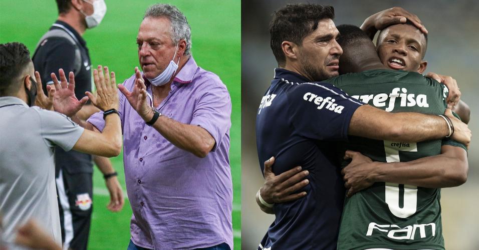 Abel Braga (à esq.) e Abel Ferreira, técnicos de Inter e Palmeiras, respectivamente