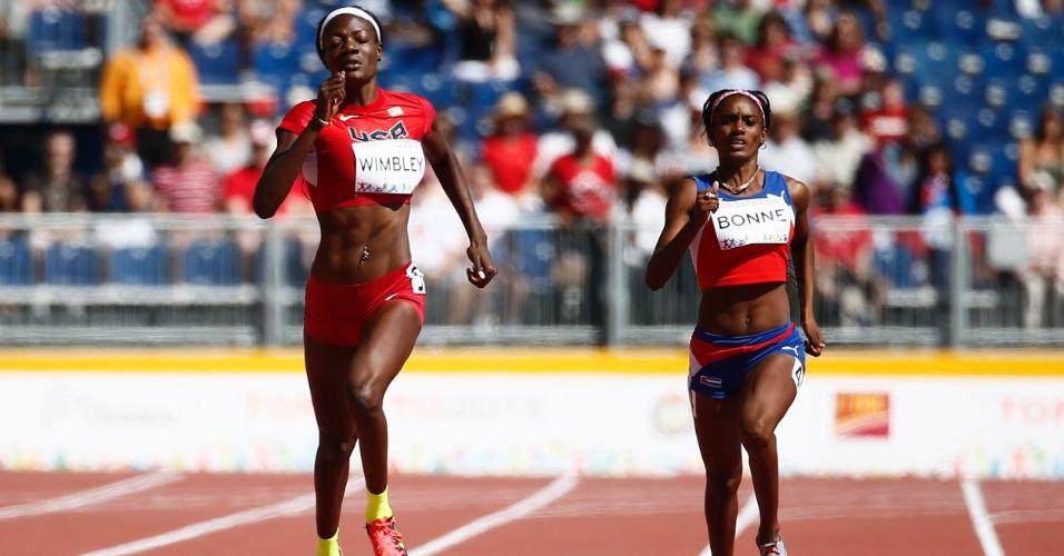 Shakima Wimbley, dos Estados Unidos, e Daysiurami Bonne, de Cuba, competem na prova dos 400m