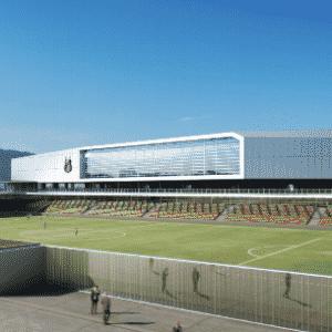 A fachada da Arena Santos, segundo o projeto. À frente, o Ulrico Mursa, estádio da Portuguesa Santista - Divulgação / Conexão 3