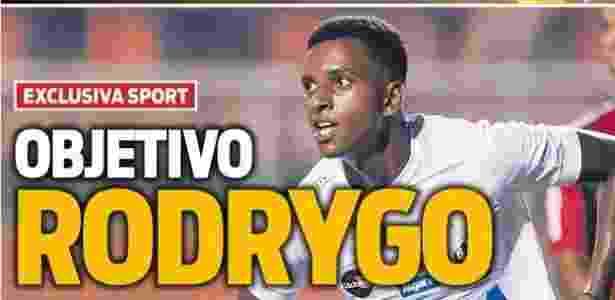 Jornal Sport afirma que Barcelona tem interesse em Rodrygo - reprodução/Sport