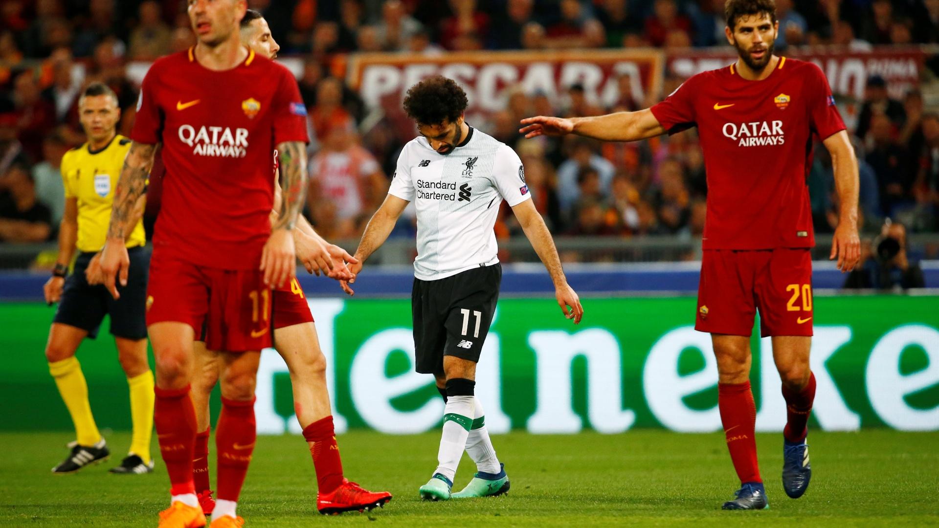 Mohamed Salah, durante a partida entre Roma e Liverpool