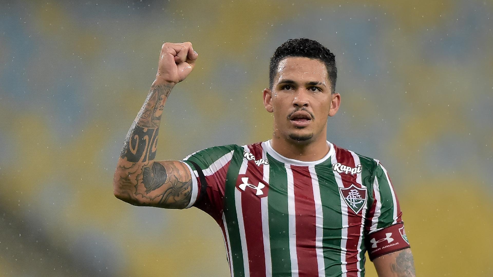 Luciano, do Fluminense, comemora seu gol durante partida contra o Luverdense pela Copa do Brasil 2019