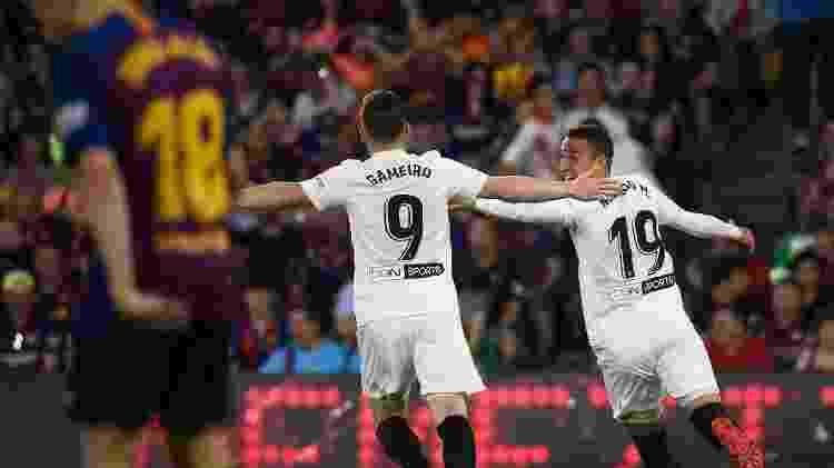 Jogadores do Valencia celebram gol  - Jose Jordan/AFP - Jose Jordan/AFP