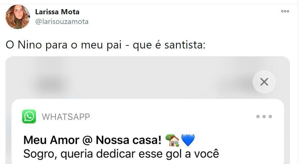 Esposa entrega zoeira de Nino com sogro santista após gol pelo Flu
