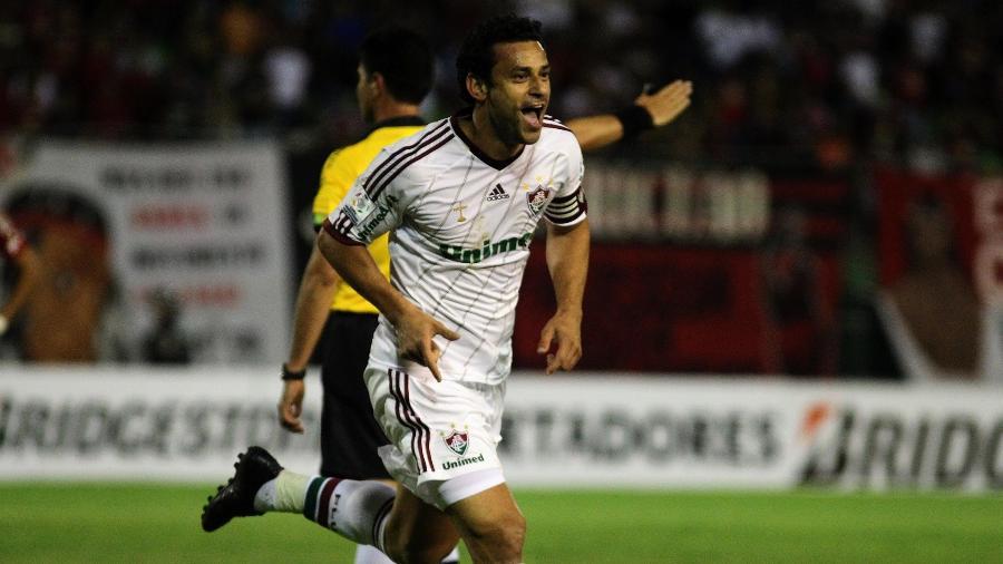 Fred fez o gol da vitória do Fluminense sobre o Caracas na estreia na Libertadores de 2013 - Nelson Perez/Fluminense FC
