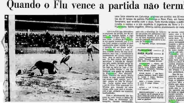 Matéria de vitória do Fluminense sobre River em amistoso que terminou com briga e expulsões - Arquivo - Arquivo
