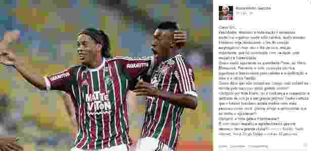 Ronaldinho Gaúcho postou mensagem de agradecimento no Facebook - Reprodução - Reprodução