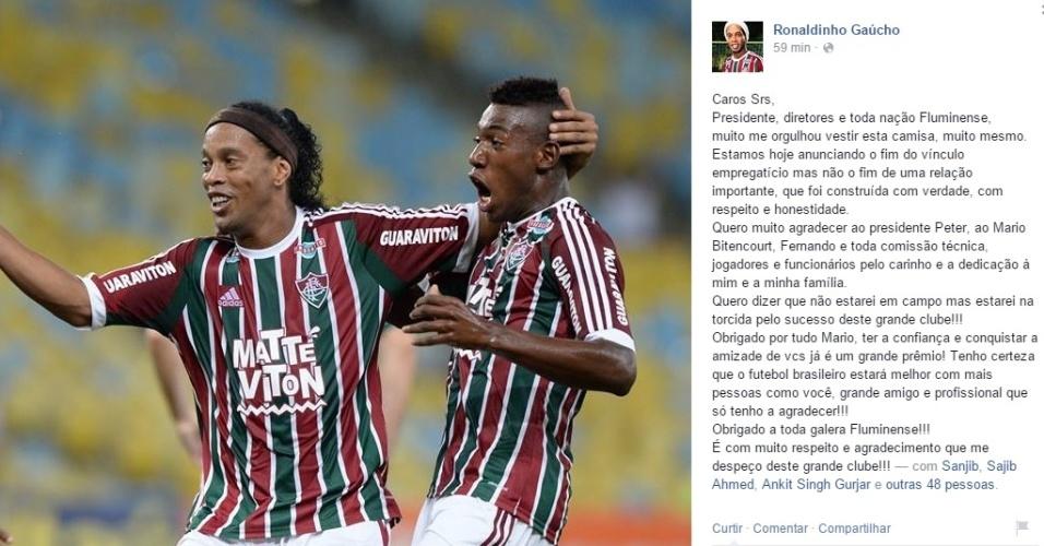 Ronaldinho Gaúcho agradece ao Fluminense depois de deixar o clube