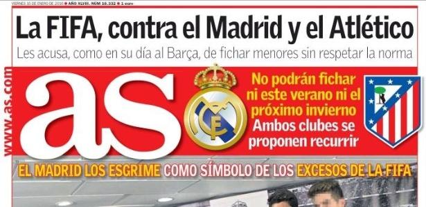 Punição aos clubes de Madri é destaque na capa do jornal As desta sexta-feira - Reprodução