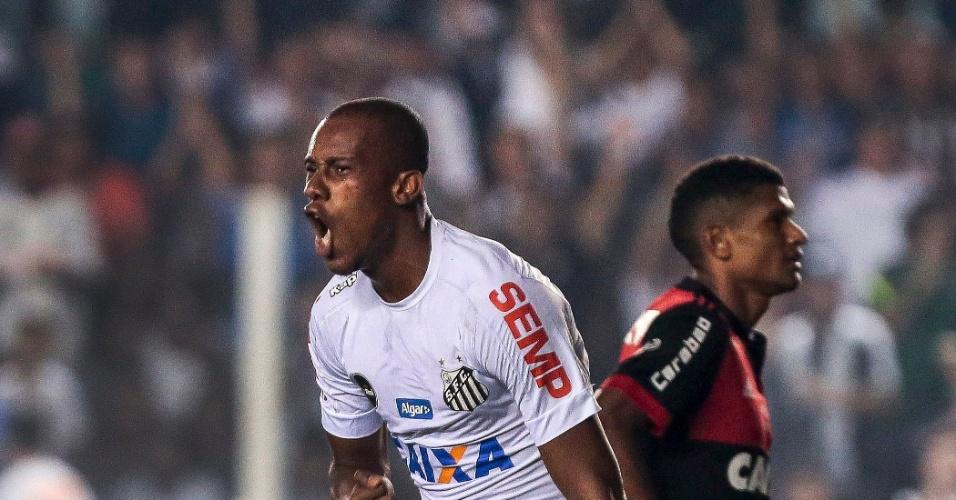 Copete do Santos comemora seu gol contra o Flamengo pela Copa do Brasil