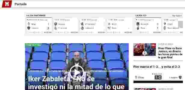 Jornal Marca foi o único entre os principais espanhóis a destacar a final da Libertadores - Reprodução - Reprodução