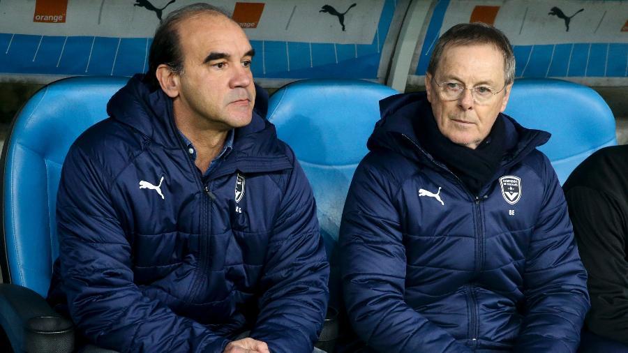 Brasileiro chegou ao clube e virou gerente; Eric Bédouet (à direita) assumiu como treinador - Jean Catuffe/Getty Images