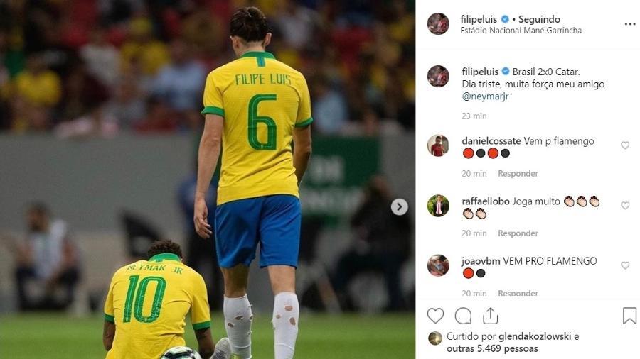 Filipe Luis deseja força a Neymar para enfrentar lesão - Reprodução/Instagram