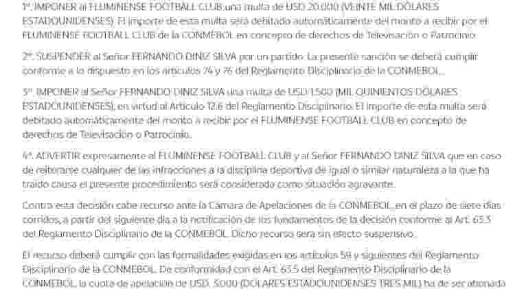 Fluminense foi punido pela Conmebol - Reprodução