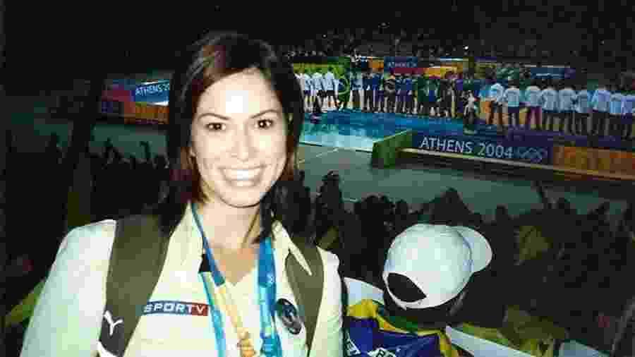 Delisiée Marinho durante cobertura das Olimpíadas de 2004, em Atenas - Arquivo Pessoal