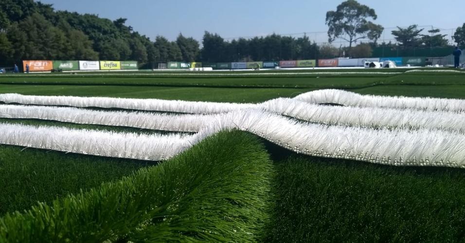 Espaço no CT do Palmeiras começou a receber a grama sintética